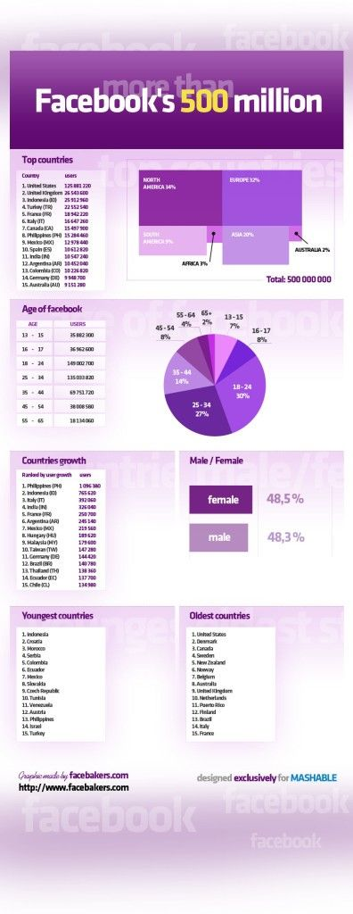 Facebooks 500 million infographics