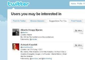 Twitter recomendacion usuarios