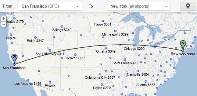 mapa google flight search
