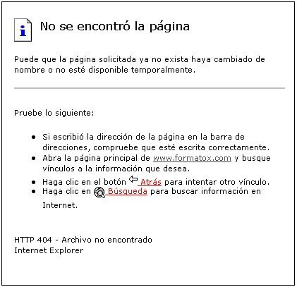 error pagina no encontrada