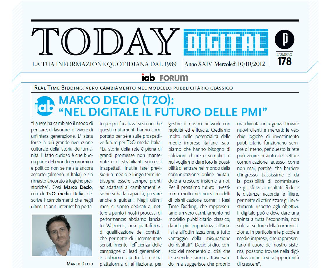 Marco Decio Country Manager de T2O media Italia