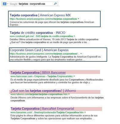 Búsqueda en Google en el caso Amex