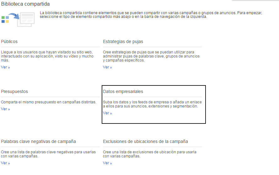 Biblioteca compartida de Google Adwords