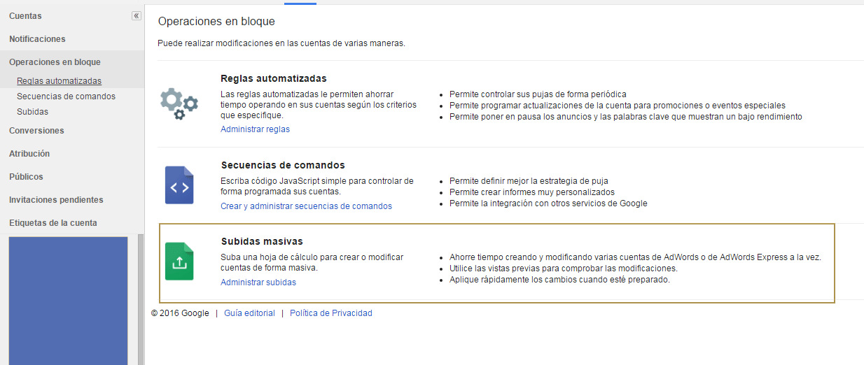 Subidas Masivas - Google Adwords