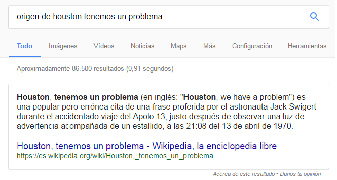 Ejemplo de Featured Snippet Houston