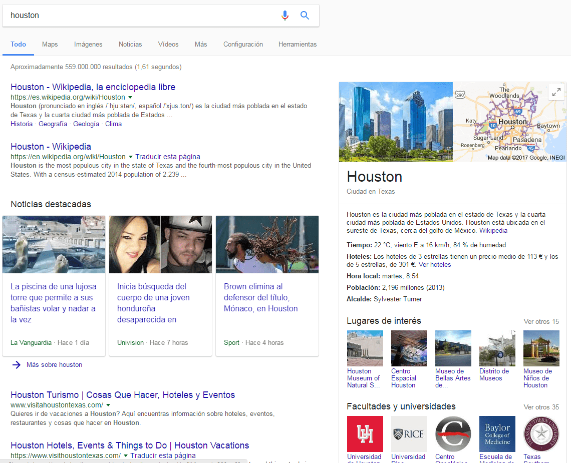 Ejemplo de Knowledge Graph para Houston