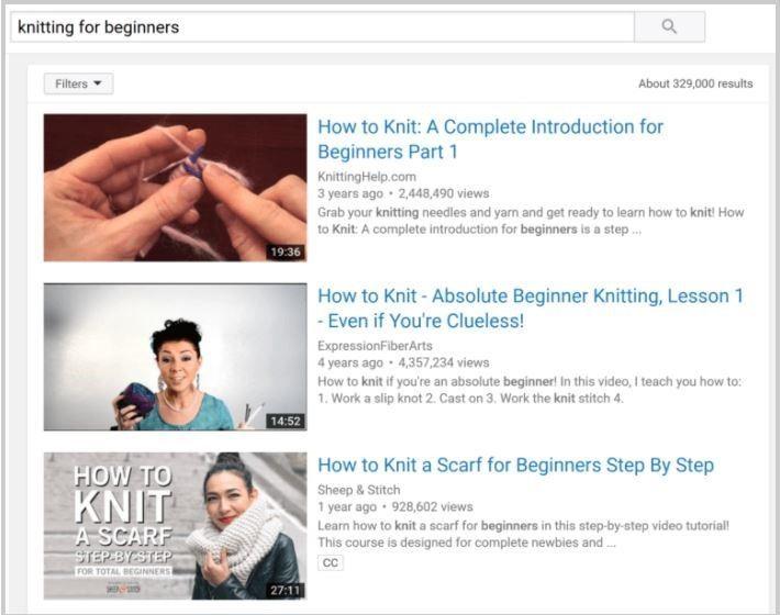Resultado busqueda vídeos YouTube