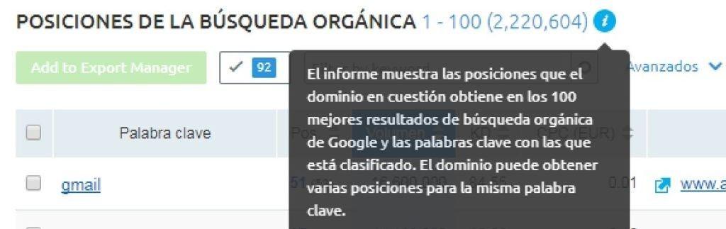 Semrush, muestra posiciones hasta el Top 100 de Google