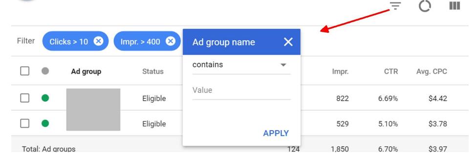 Ad group name